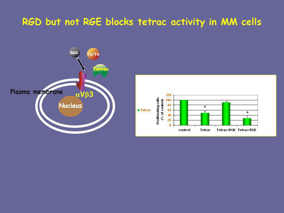 RGD but not RGE blocks tetrac activity in MM cells