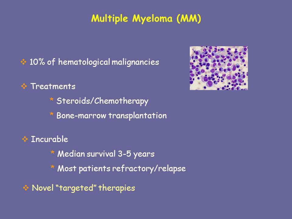 Multiple Myeloma (MM) 10% of hematological malignancies Treatments