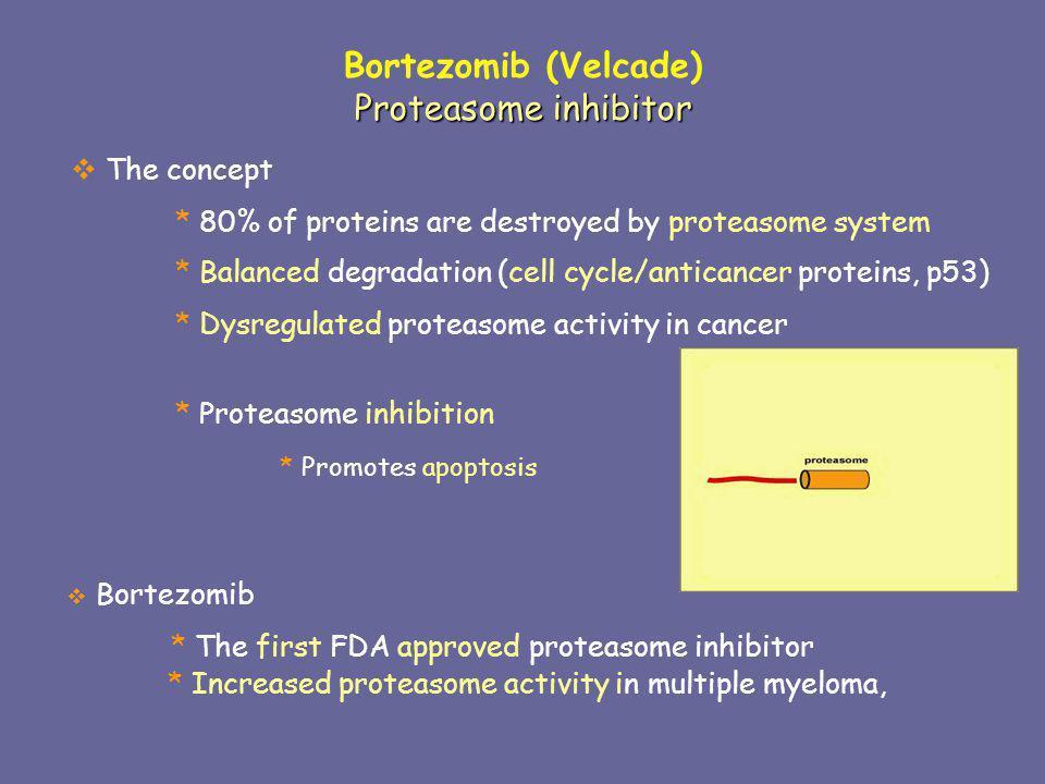 Bortezomib (Velcade) Proteasome inhibitor The concept
