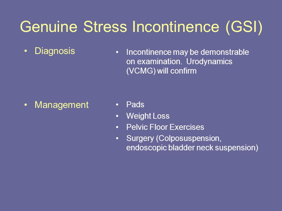 Genuine Stress Incontinence (GSI)