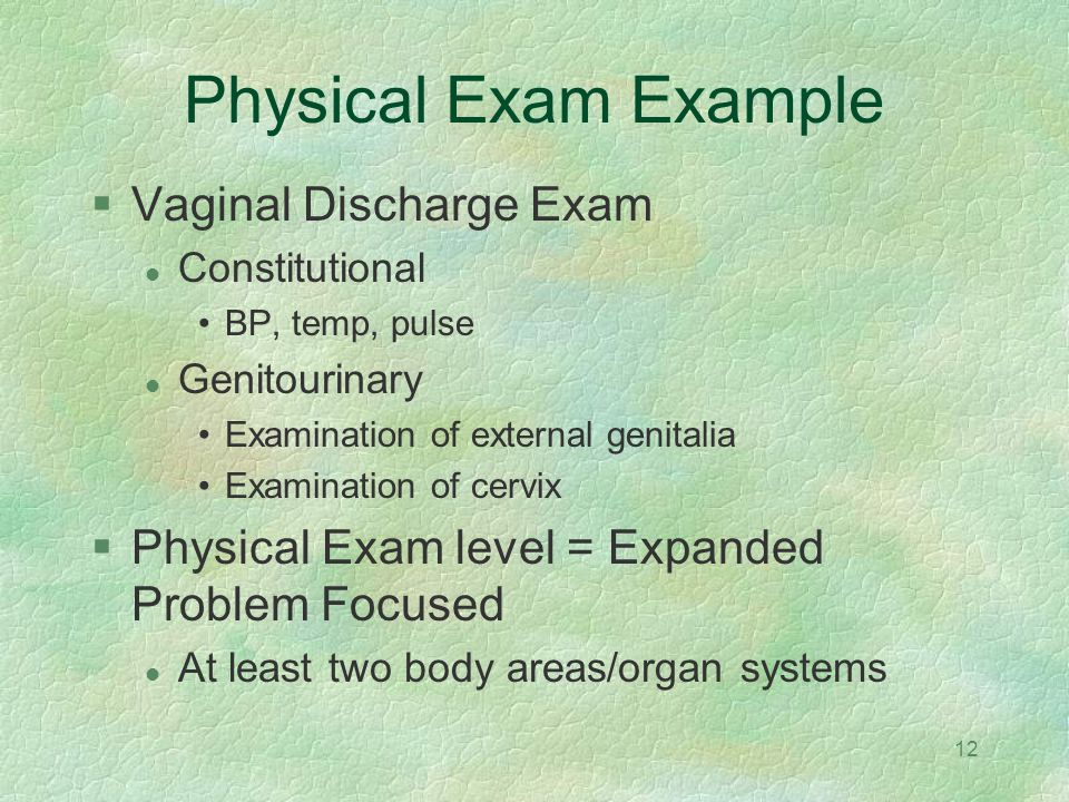 Physical Exam Example Vaginal Discharge Exam