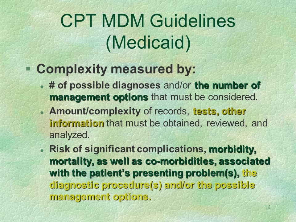 CPT MDM Guidelines (Medicaid)