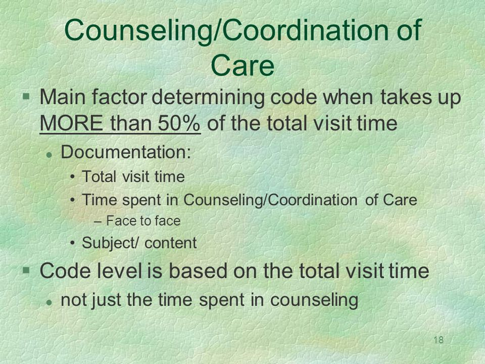 Counseling/Coordination of Care