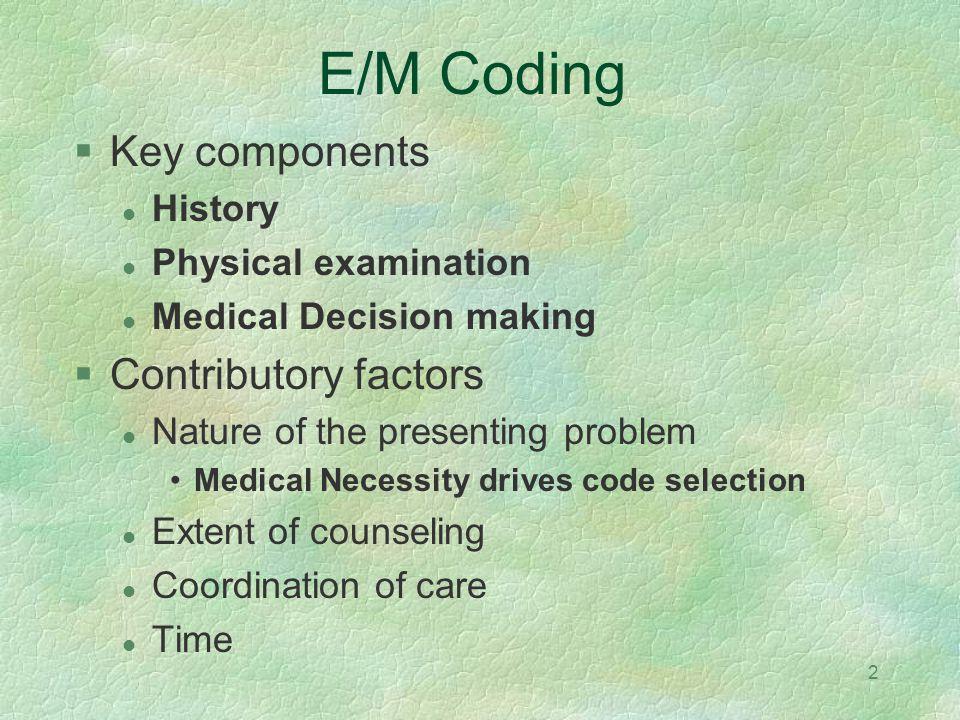 E/M Coding Key components Contributory factors History