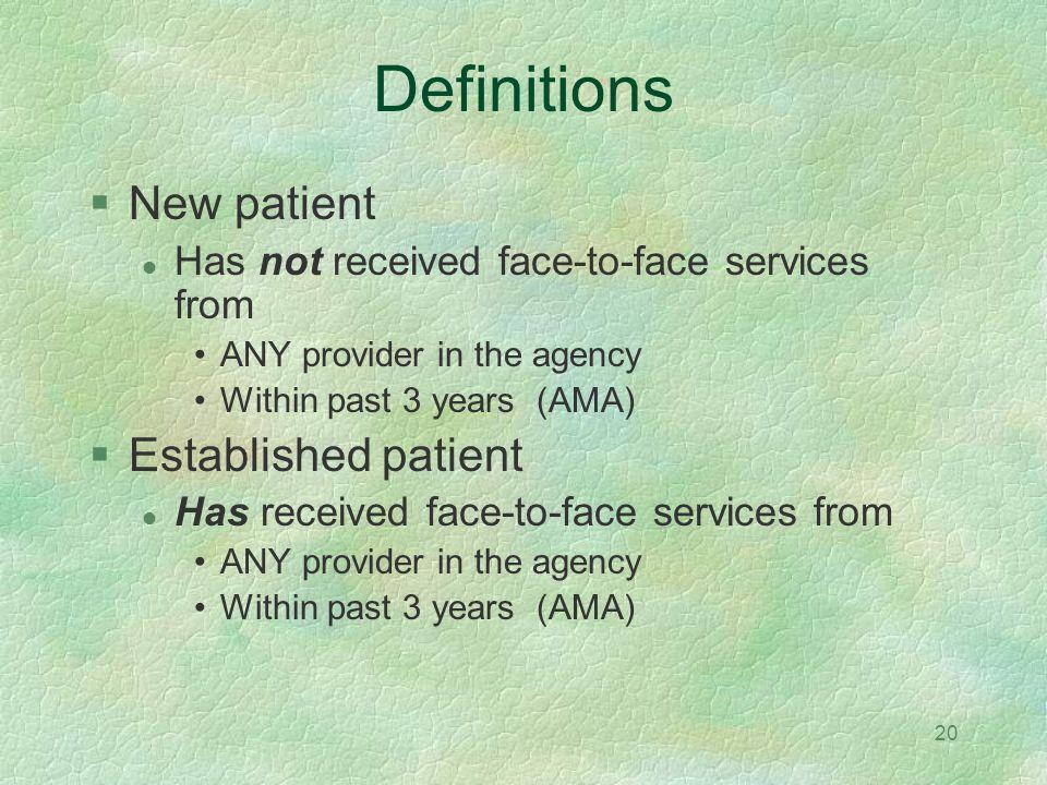 Definitions New patient Established patient