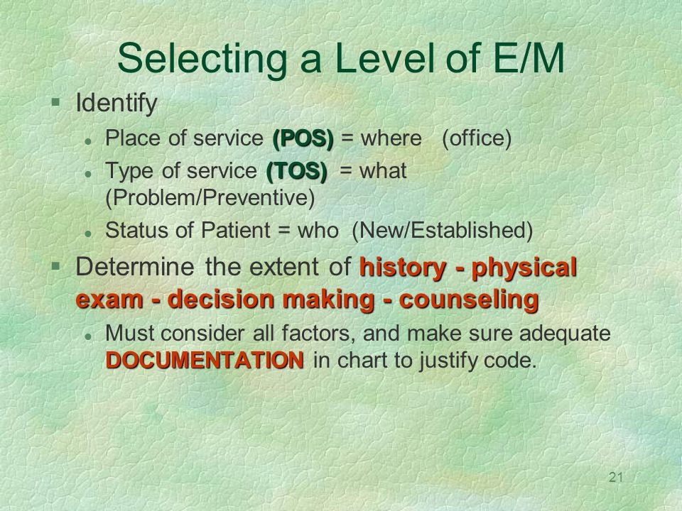 Selecting a Level of E/M