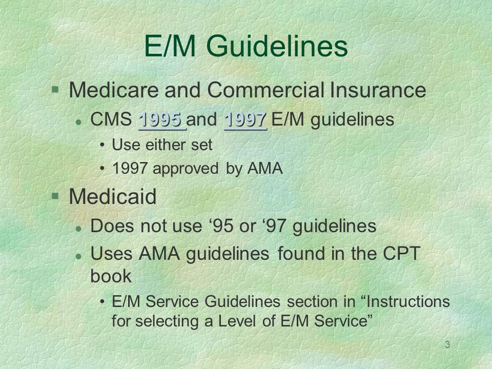 E/M Guidelines Medicare and Commercial Insurance Medicaid