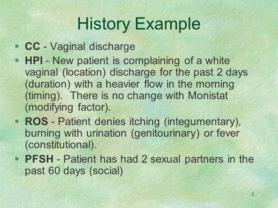 History Example CC - Vaginal discharge