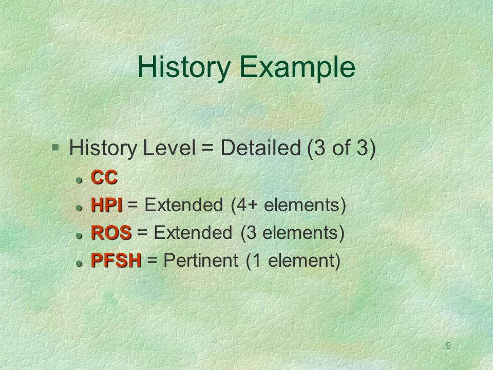 History Example History Level = Detailed (3 of 3) CC