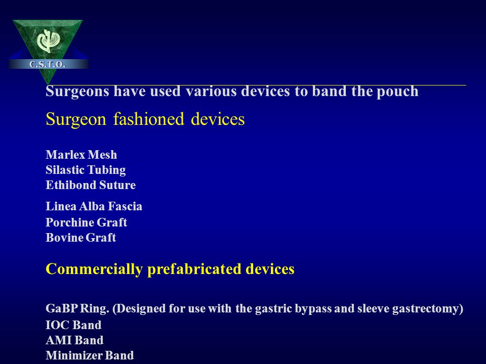 Surgeons have used various devices to band the pouch