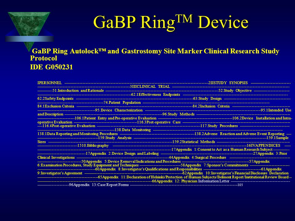GaBP RingTM Device GaBP Ring Autolock™ and Gastrostomy Site Marker Clinical Research Study Protocol.