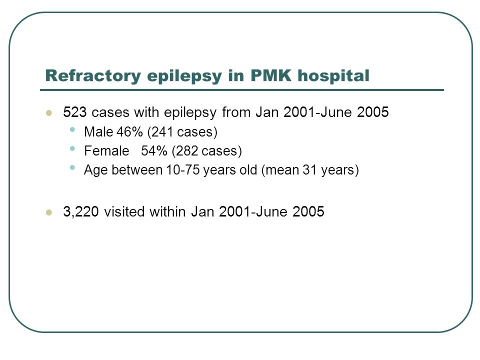 Refractory epilepsy in PMK hospital