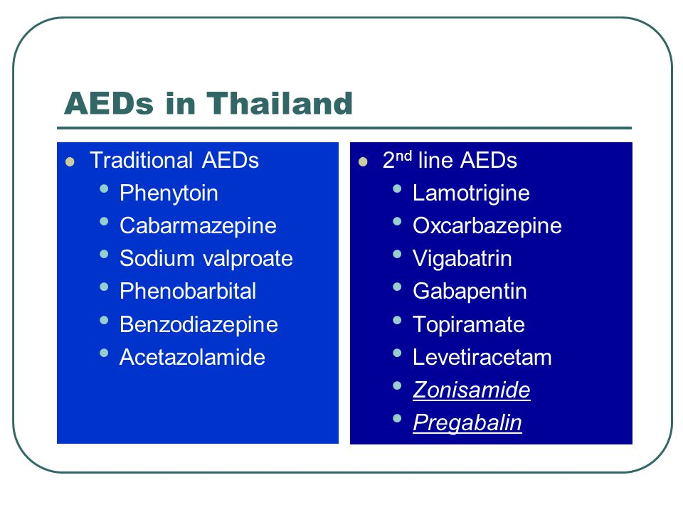 AEDs in Thailand Traditional AEDs Phenytoin Cabarmazepine
