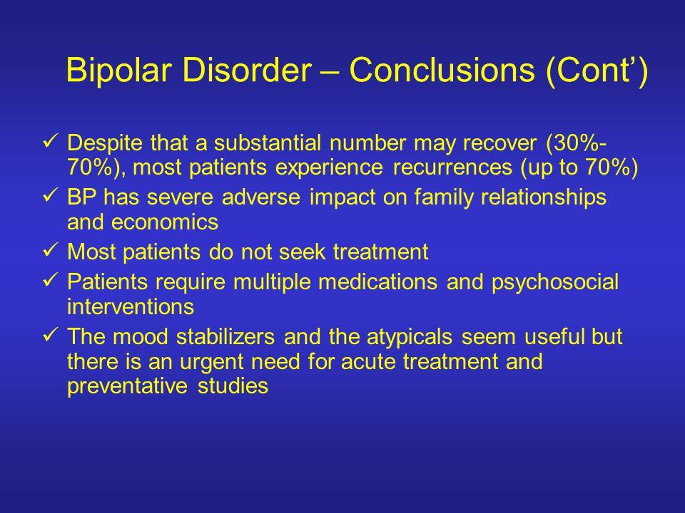 Bipolar Disorder – Conclusions (Cont')
