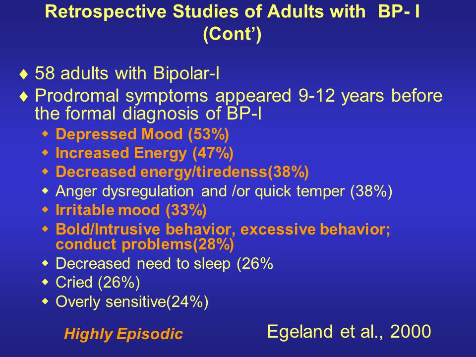 Retrospective Studies of Adults with BP- I (Cont')