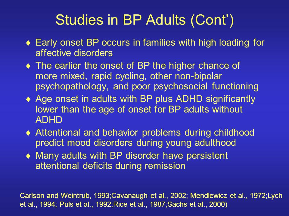 Studies in BP Adults (Cont')