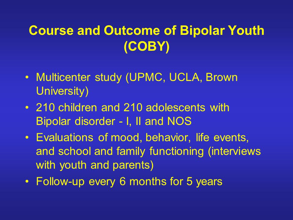 Course and Outcome of Bipolar Youth (COBY)