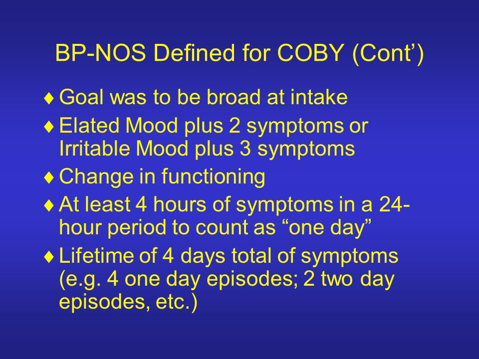 BP-NOS Defined for COBY (Cont')