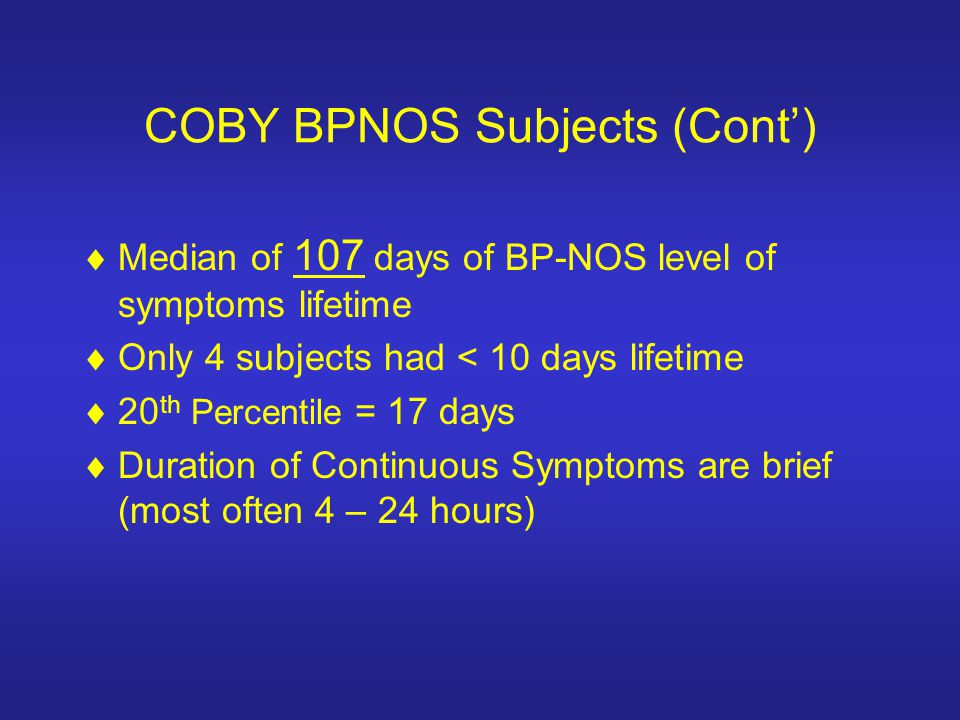 COBY BPNOS Subjects (Cont')