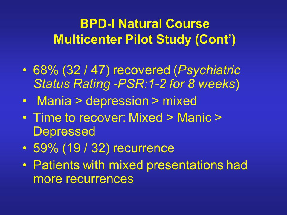 BPD-I Natural Course Multicenter Pilot Study (Cont')