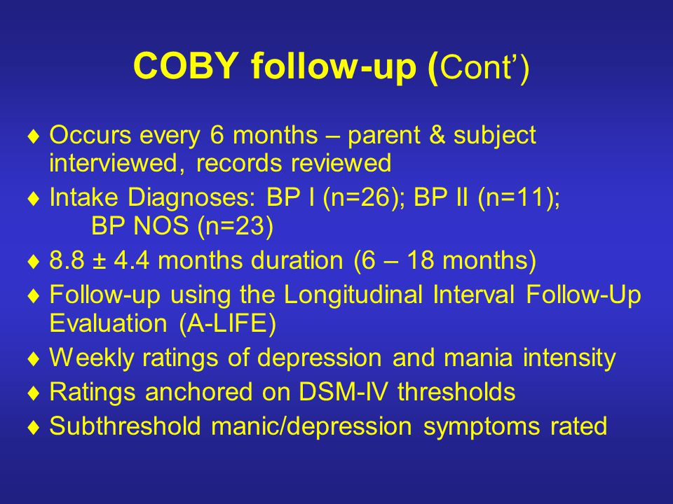 COBY follow-up (Cont')