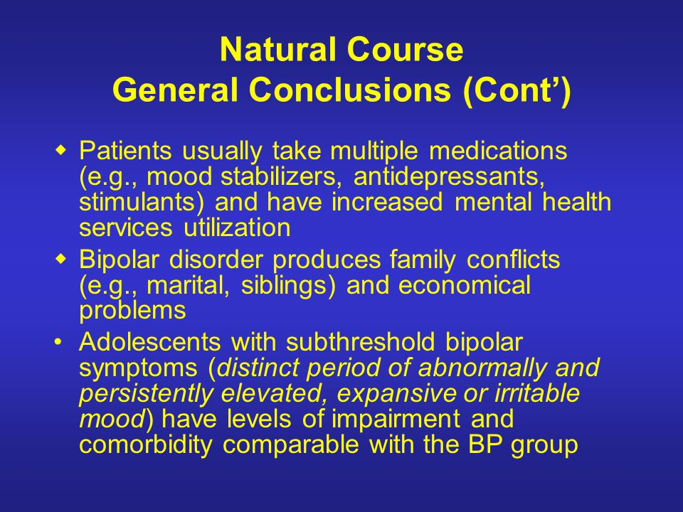 Natural Course General Conclusions (Cont')
