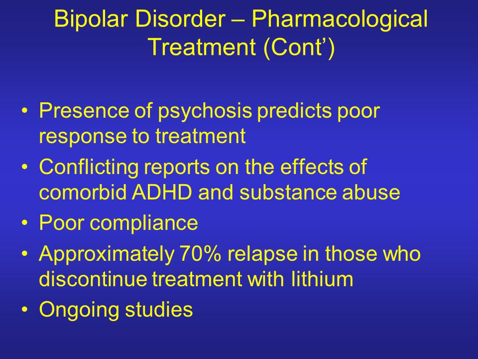 Bipolar Disorder – Pharmacological Treatment (Cont')