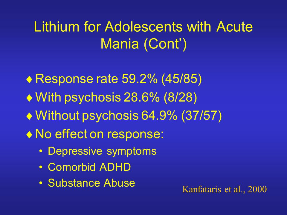 Lithium for Adolescents with Acute Mania (Cont')