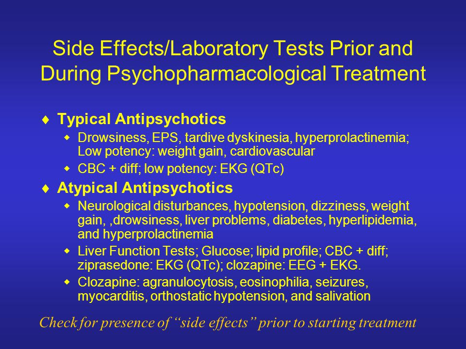 Side Effects/Laboratory Tests Prior and During Psychopharmacological Treatment