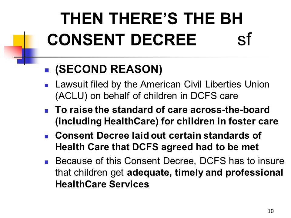 THEN THERE'S THE BH CONSENT DECREE sf