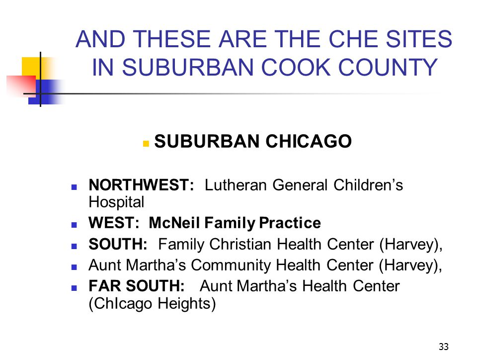 AND THESE ARE THE CHE SITES IN SUBURBAN COOK COUNTY