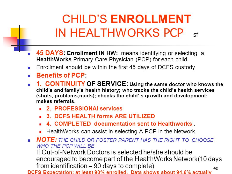 CHILD'S ENROLLMENT IN HEALTHWORKS PCP sf