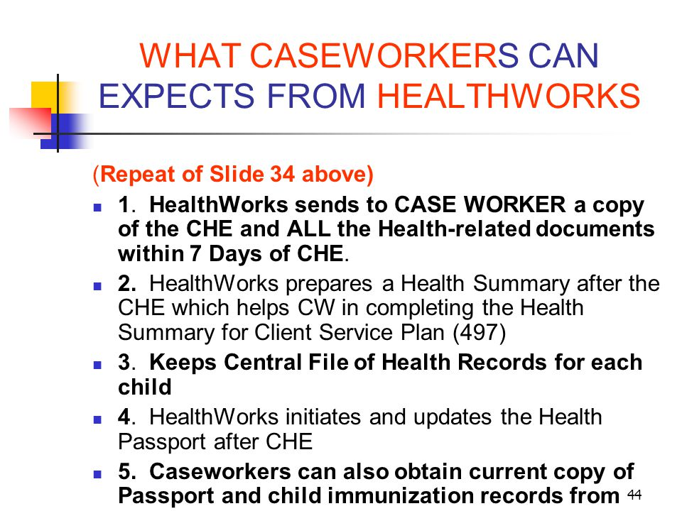 WHAT CASEWORKERS CAN EXPECTS FROM HEALTHWORKS