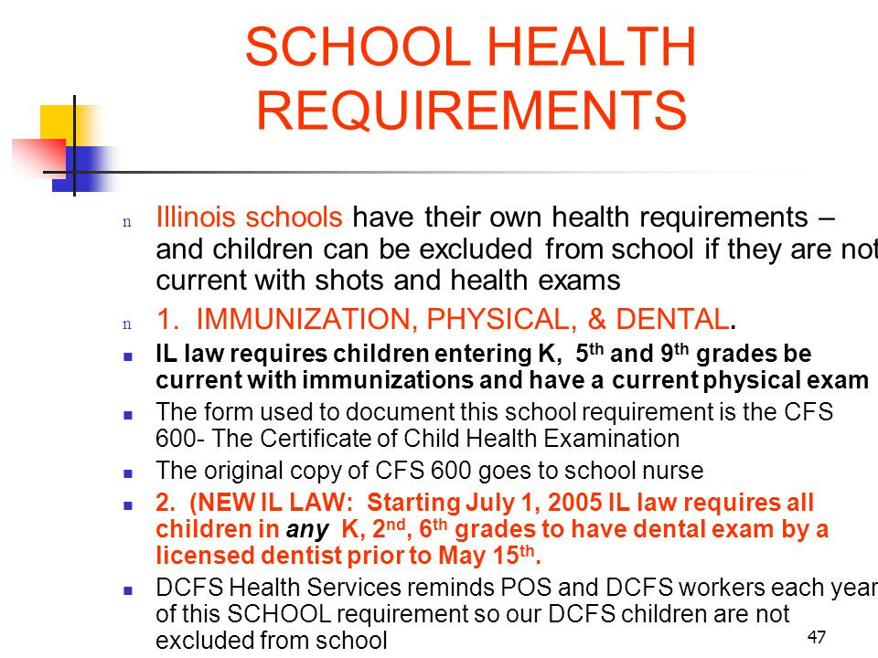 SCHOOL HEALTH REQUIREMENTS