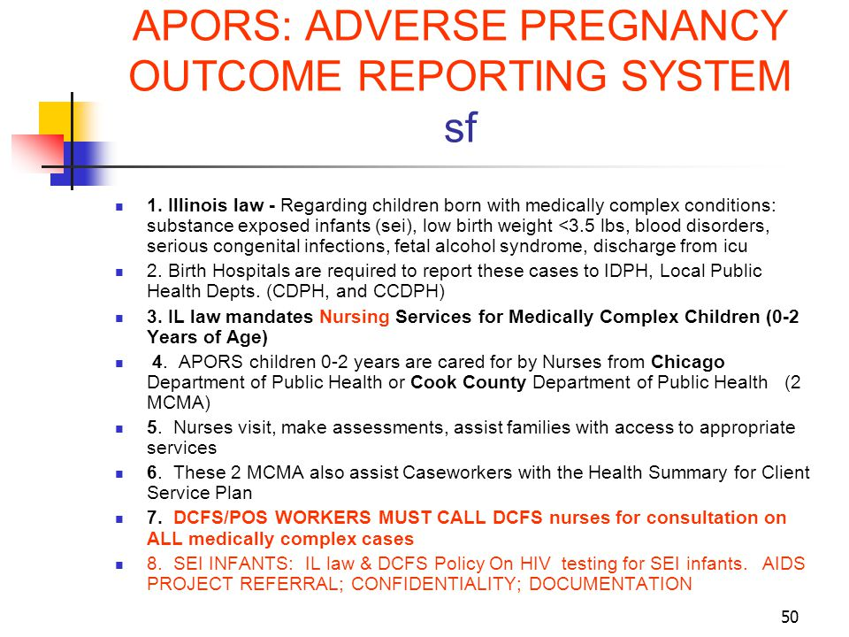 APORS: ADVERSE PREGNANCY OUTCOME REPORTING SYSTEM sf