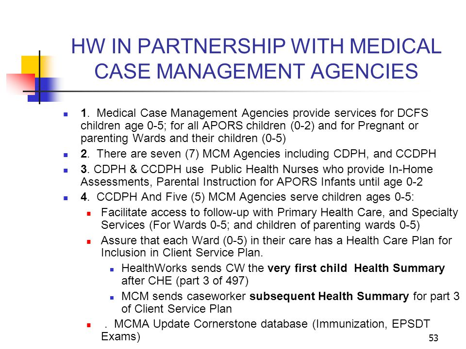 HW IN PARTNERSHIP WITH MEDICAL CASE MANAGEMENT AGENCIES