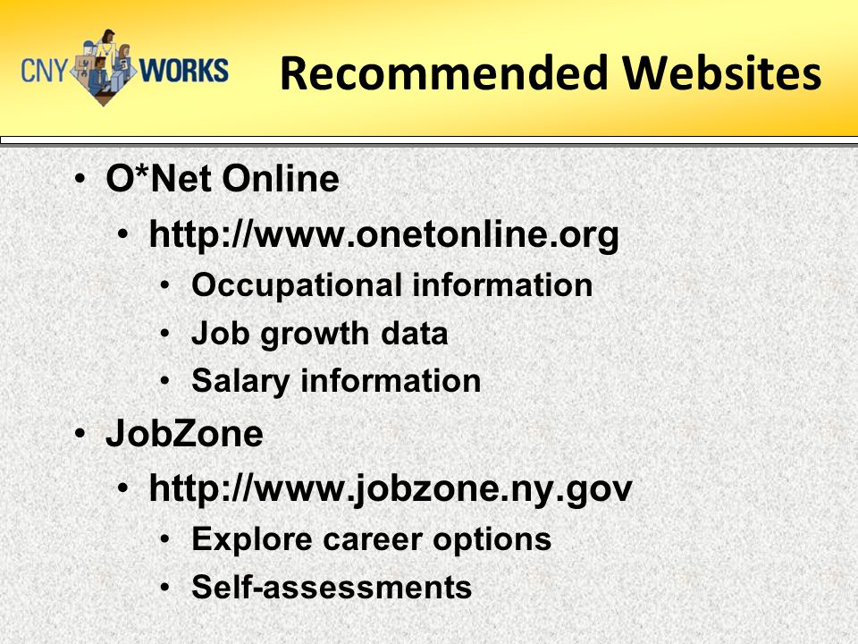 Recommended Websites O*Net Online http://www.onetonline.org JobZone