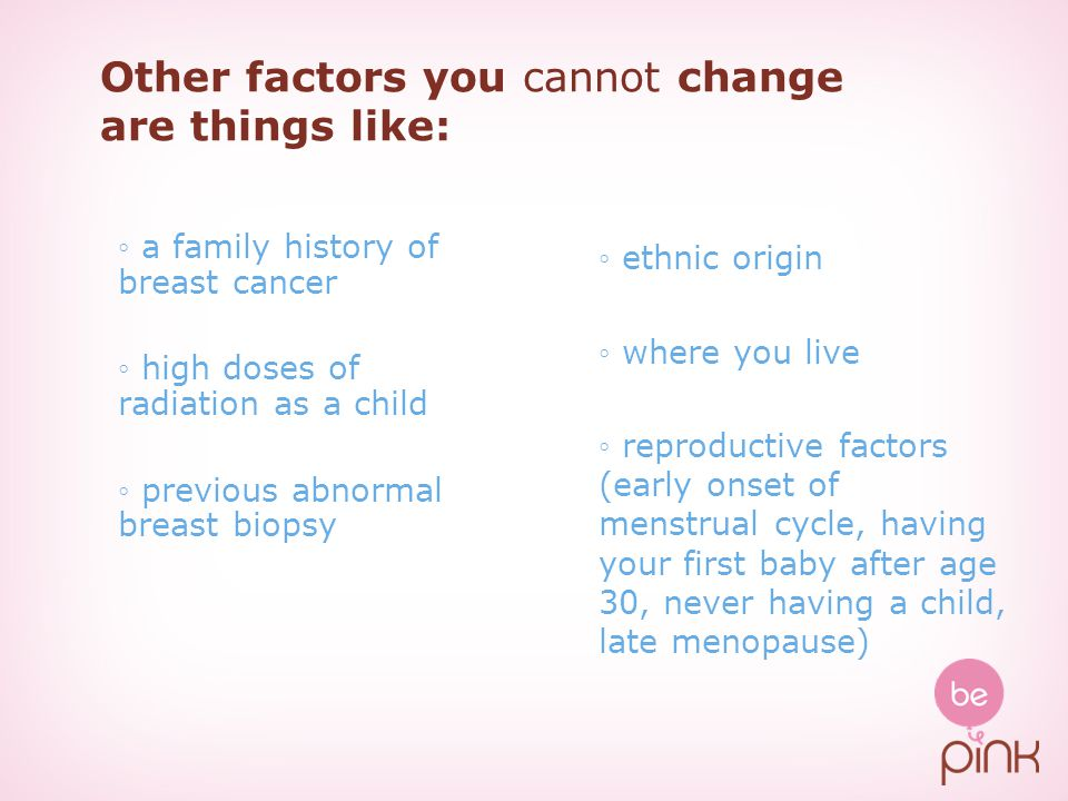 Other factors you cannot change are things like: