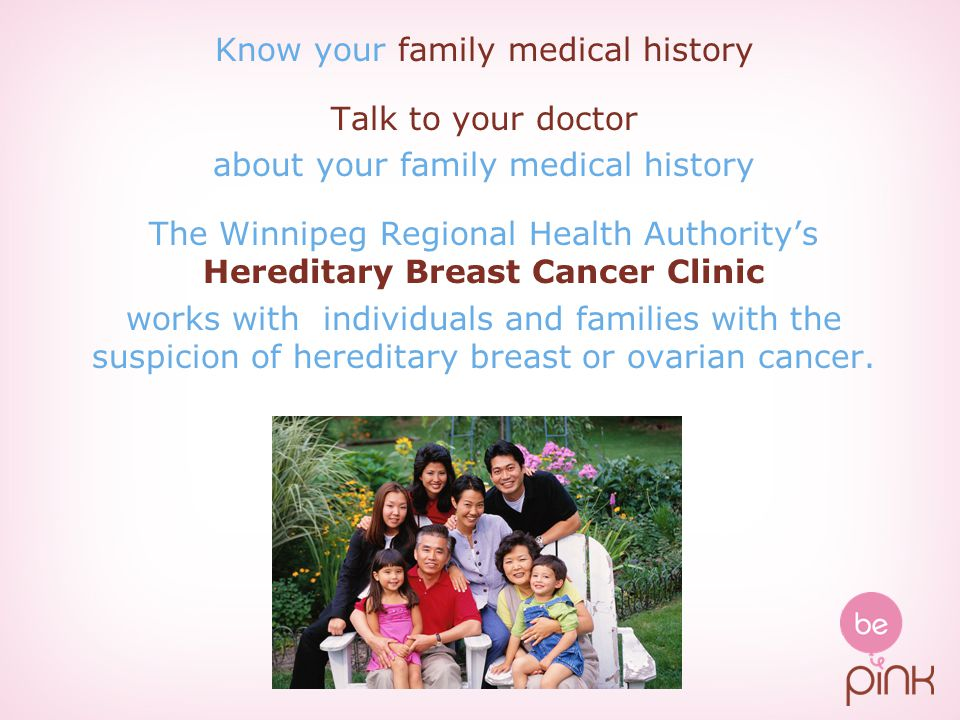 Know your family medical history Talk to your doctor
