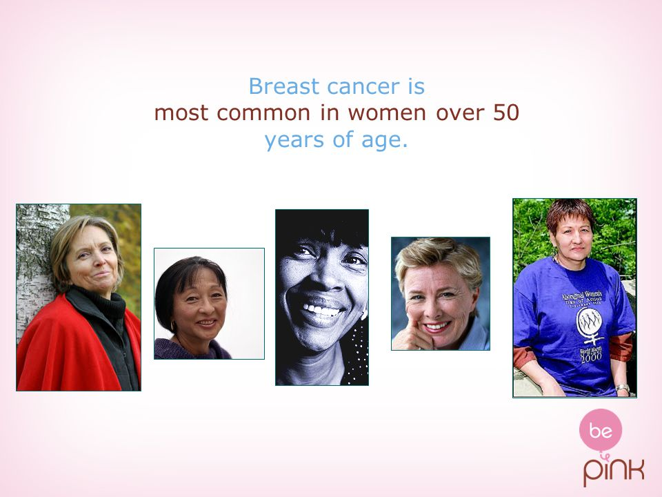 Breast cancer is most common in women over 50 years of age.