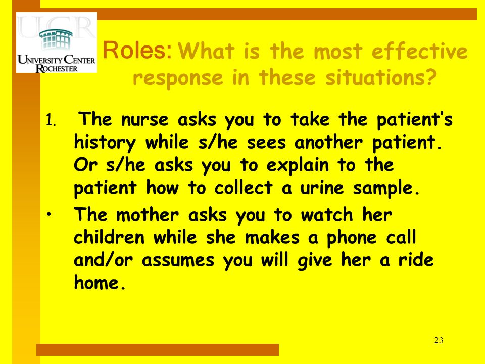 Roles: What is the most effective response in these situations