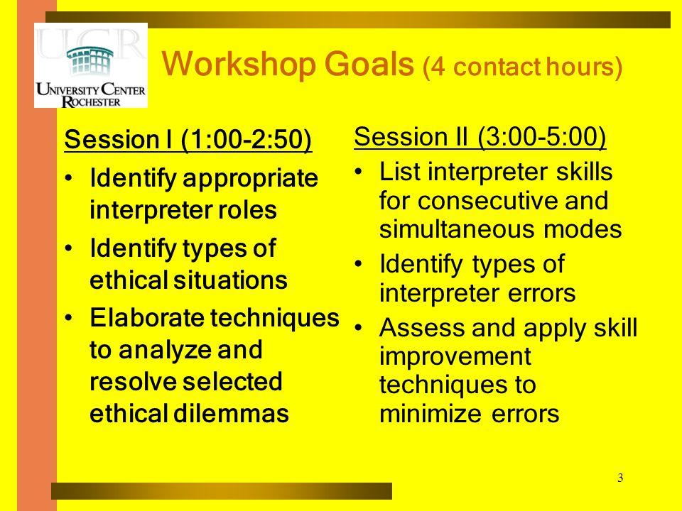Workshop Goals (4 contact hours)