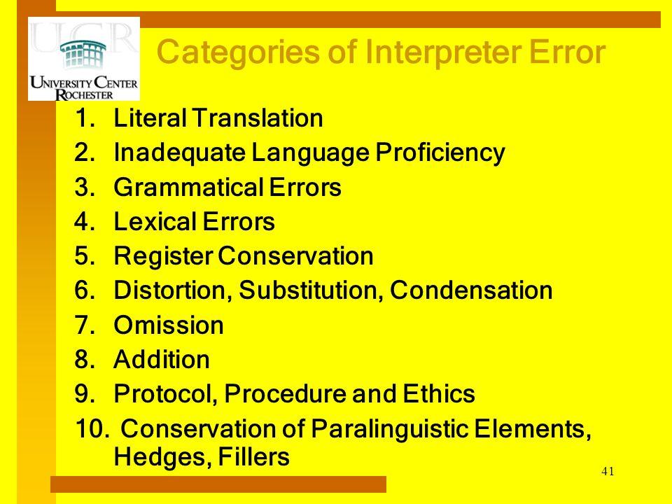 Categories of Interpreter Error