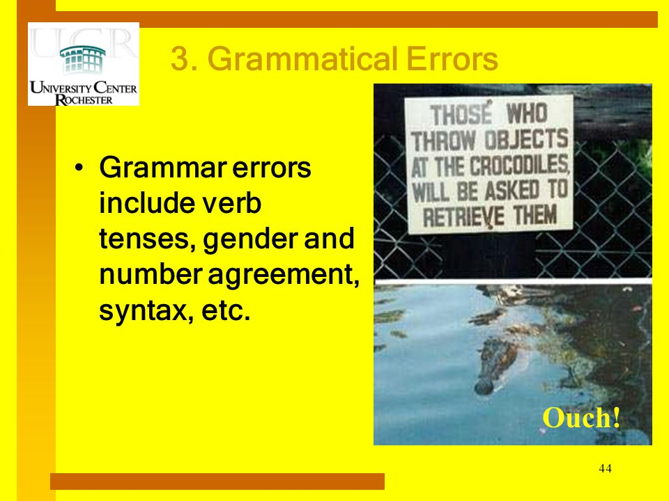 3. Grammatical Errors Grammar errors include verb tenses, gender and number agreement, syntax, etc.