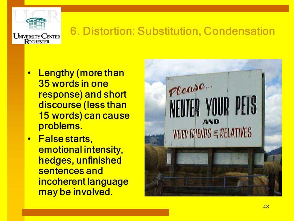 6. Distortion: Substitution, Condensation