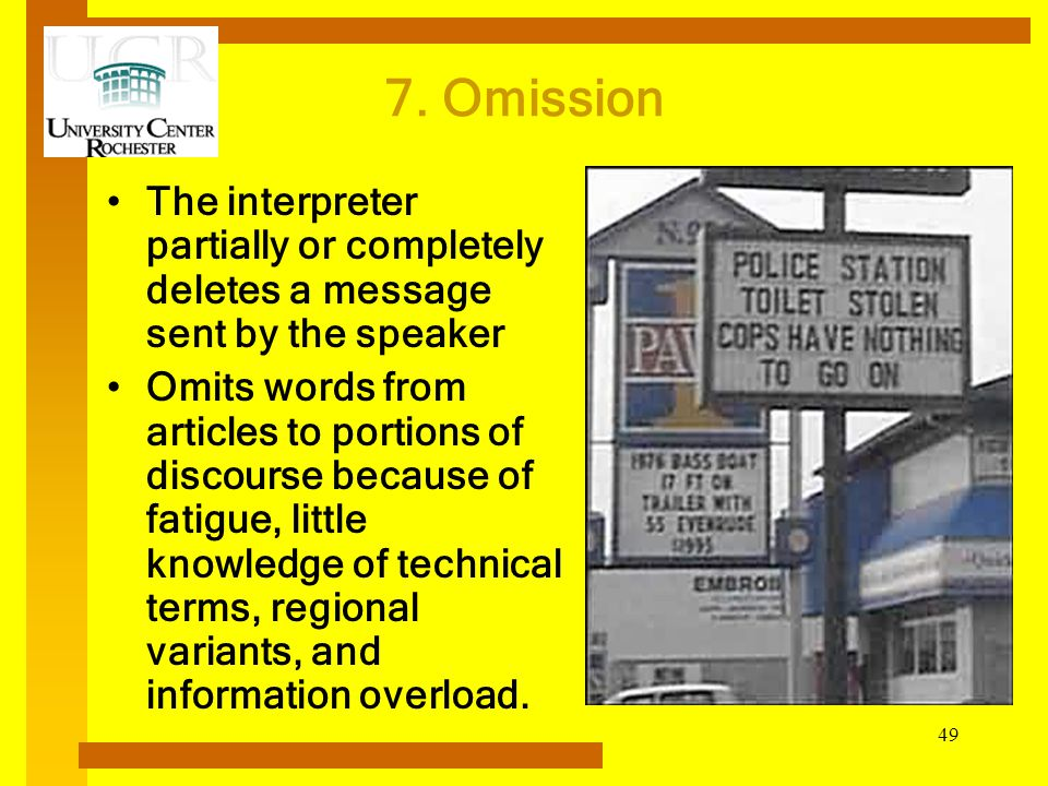 7. Omission The interpreter partially or completely deletes a message sent by the speaker.