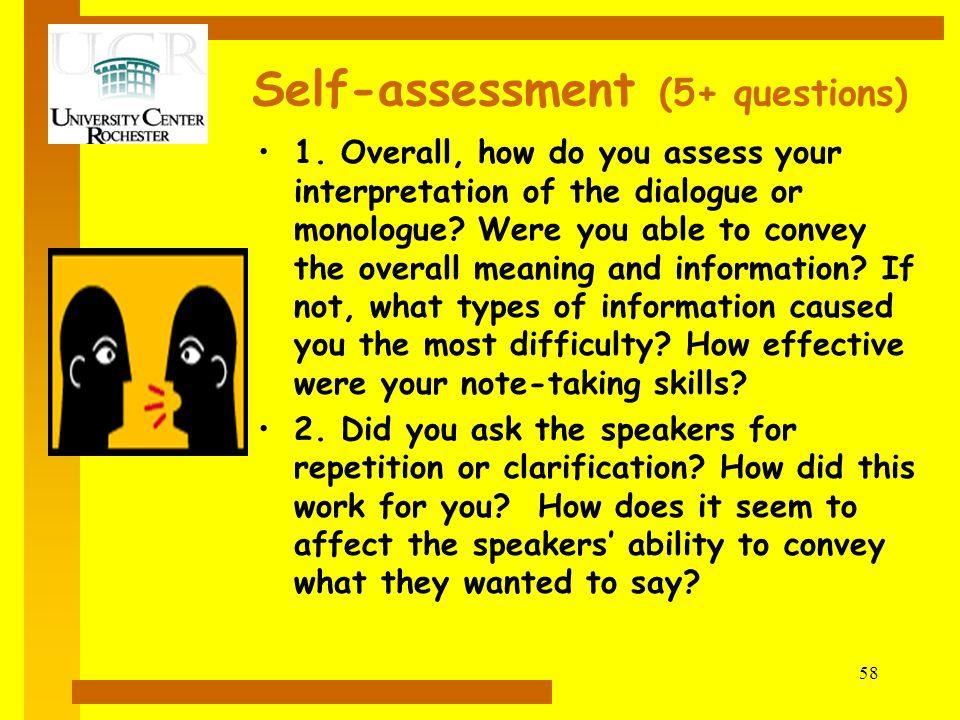 Self-assessment (5+ questions)