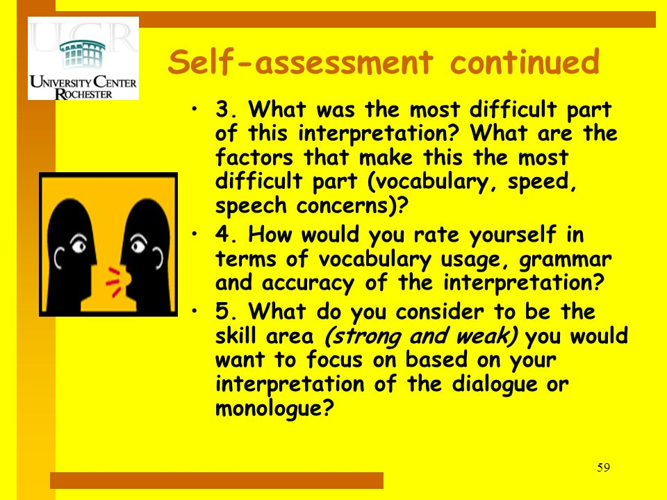 Self-assessment continued