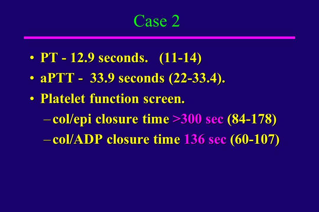 Case 2 PT - 12.9 seconds. (11-14) aPTT - 33.9 seconds (22-33.4).