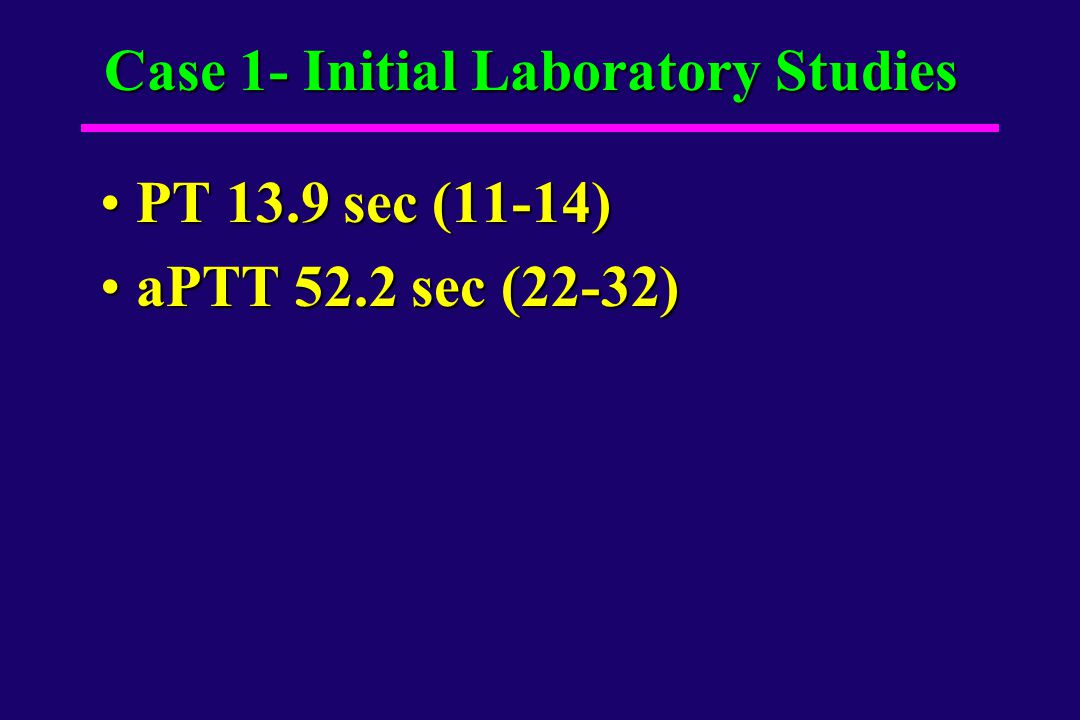 Case 1- Initial Laboratory Studies